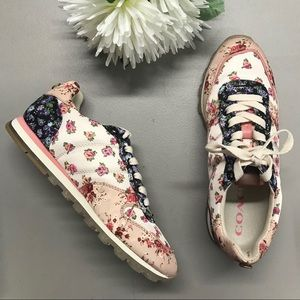 Coach Mixed Media Sneaker Floral Shoe NEW